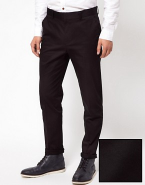 Image 1 ofASOS Skinny Fit  Sateen Smart Trousers in Black