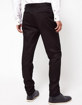 Image 2 ofASOS Skinny Fit  Sateen Smart Trousers in Black