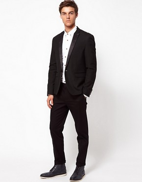 Image 4 ofASOS Skinny Fit  Sateen Smart Trousers in Black