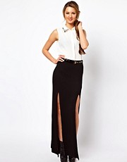 Club L Double Thigh Split Maxi Skirt With Studded Belt