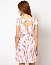 A Wear Lip Print Dress With Cut Out Back