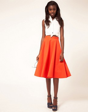 Image 1 ofASOS Fit And Flare Midi Skirt