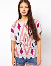 People Tree Organic Cotton Aztec Print Oversize T Shirt