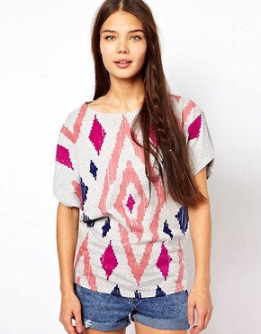Image 1 ofPeople Tree Organic Cotton Aztec Print Oversize T Shirt