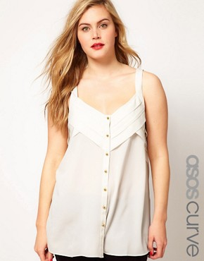 Image 1 ofASOS CURVE Exclusive Cami With Layers and Buttons
