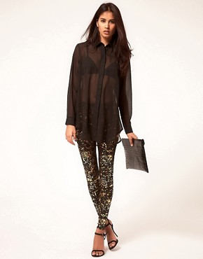 Bild 1 von ASOS  Leggings mit Farbklecksmuster in Metallic-Optik