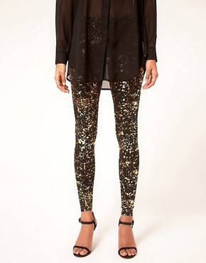 Bild 4 von ASOS  Leggings mit Farbklecksmuster in Metallic-Optik