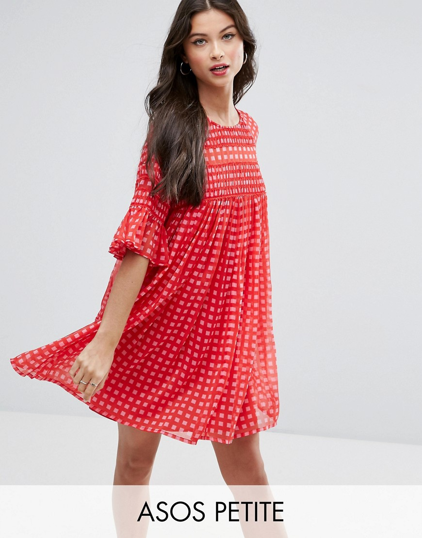 ASOS PETITE Gingham Smock Dress with Shirring Detail - Multi