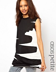 ASOS PETITE Tank Top with High Neck in Squiggle Print