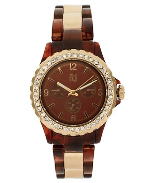 Image 1 ofRiver Island Tortoise And Gold Link Watch