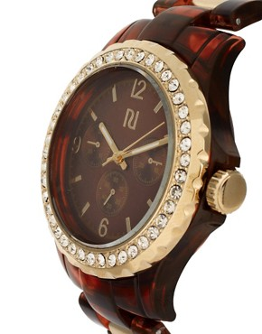 Image 4 ofRiver Island Tortoise And Gold Link Watch