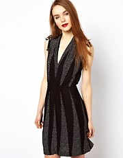 French Connection Dotty Wrap Look Dress