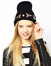 ASOS Metal Brocade Turn Up Beanie