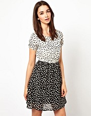A Wear Mixed Print Skater Dress