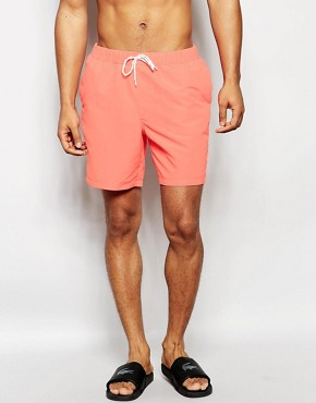 ASOS Mid Length Swim Shorts In Coral