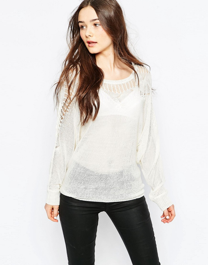 Vila Crochet Sweater - White