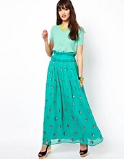 Manoush Maxi Skirt in Embellished Summer Silk
