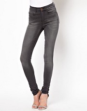 ASOS Ridley Supersoft High Waist Ultra Skinny  Jeans in Washed Grey
