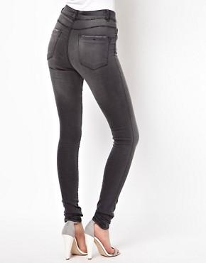 Image 2 ofASOS Ridley Supersoft High Waist Ultra Skinny  Jeans in Washed Grey