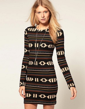 Image 1 ofVero Moda Navajo Pattern Long Sleeve Dress