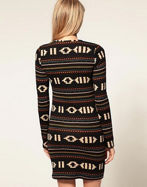 Image 2 ofVero Moda Navajo Pattern Long Sleeve Dress