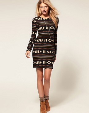Image 4 ofVero Moda Navajo Pattern Long Sleeve Dress