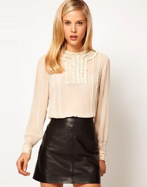 Image 1 ofASOS Blouse With Lace Trims And Delicate Pintucks