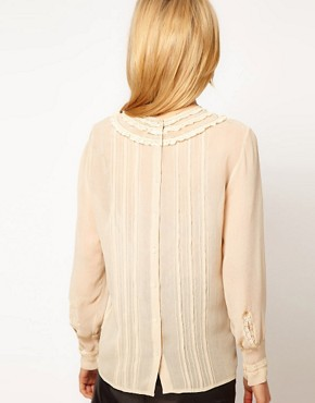 Image 2 ofASOS Blouse With Lace Trims And Delicate Pintucks