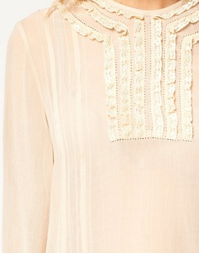 Image 3 ofASOS Blouse With Lace Trims And Delicate Pintucks