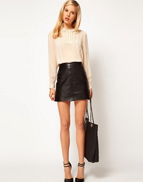 Image 4 ofASOS Blouse With Lace Trims And Delicate Pintucks