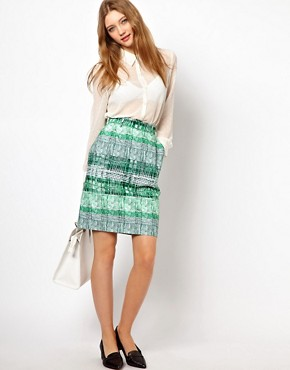 Image 1 ofPeter Jensen Pencil Skirt in Green Striped Check