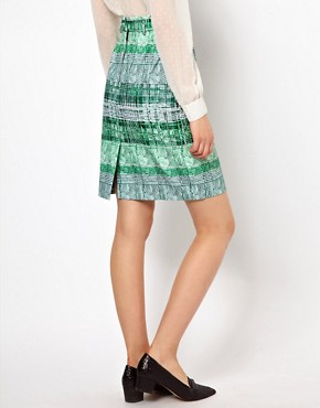 Image 2 ofPeter Jensen Pencil Skirt in Green Striped Check