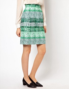 Image 4 ofPeter Jensen Pencil Skirt in Green Striped Check