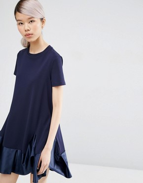 ASOS Premium T-Shirt Dress with Satin Frill Pephem