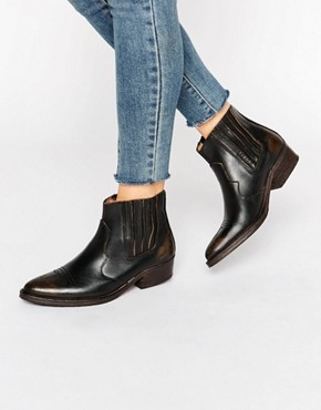 Selected Femme Type Black Distressed Leather Western Ankle Boots