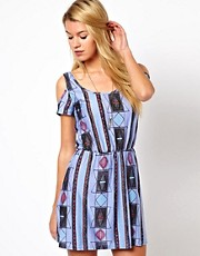 Glamorous Jersey Skater Dress With Cold Shoulder In Aztec Print