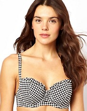 Miss Mandalay D-GG Gingham Check Padded Balcony Bikini Top