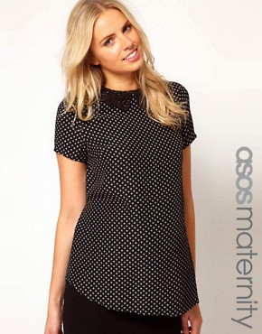 Image 1 ofASOS Maternity Printed Top With Crochet Collar