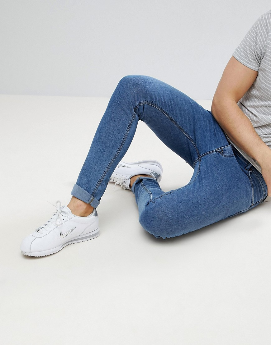 ASOS Super Skinny Jeans In Retro Mid Wash - Flat mid blue