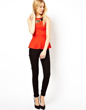 Image 4 ofRiver Island Peplum Top With Necklace Detail