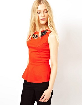 Image 1 ofRiver Island Peplum Top With Necklace Detail