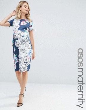 ASOS Maternity Navy Base Floral Midi Bodycon Dress