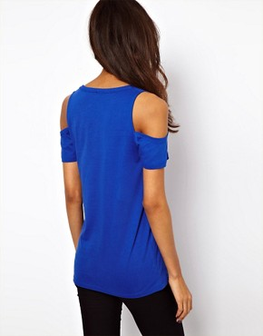 Image 2 ofASOS T-Shirt with V Neck and Cold Shoulder