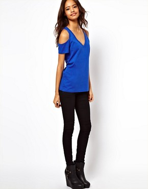 Image 4 ofASOS T-Shirt with V Neck and Cold Shoulder