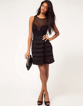 Image 1 ofASOS Full Skirt In Mesh And Solid Stripe