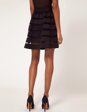 Image 2 ofASOS Full Skirt In Mesh And Solid Stripe