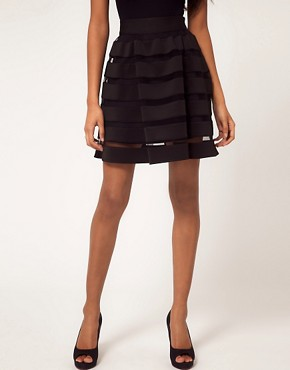 Image 4 ofASOS Full Skirt In Mesh And Solid Stripe
