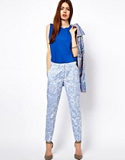 ASOS Pants In Blue Floral Jacquard