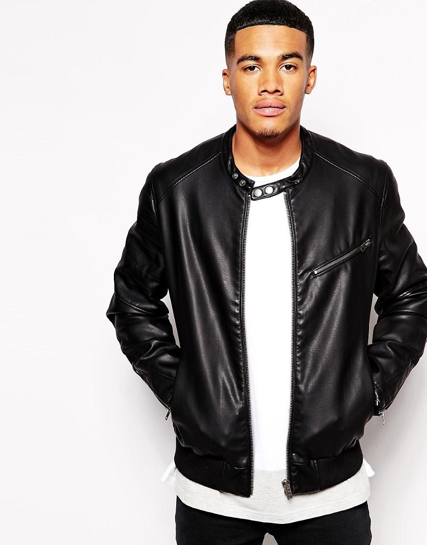 Image 1 ofASOS Faux Leather Biker Jacket