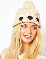 Plush Heart Pom Pom Hat